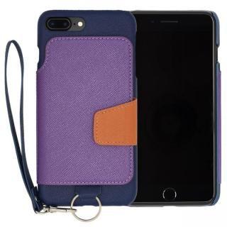 RAKUNI PUレザー ブックタイプケース with ストラップ ブルー iPhone 7 Plus