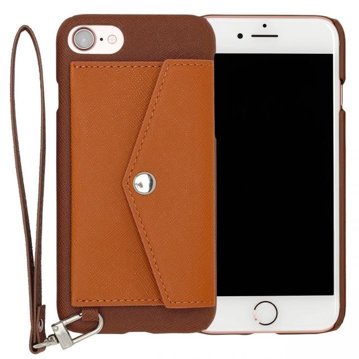 【iPhone7ケース】RAKUNI PUレザー ポケットタイプケース with ストラップ ブラウン iPhone 7_0
