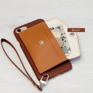 【iPhone7ケース】RAKUNI PUレザー ポケットタイプケース with ストラップ ブラウン iPhone 7_2