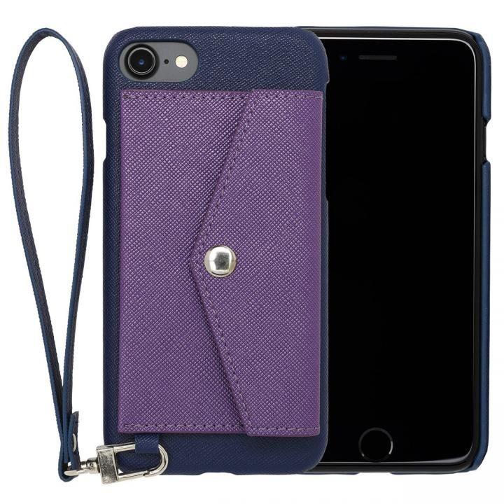 【iPhone7ケース】RAKUNI PUレザー ポケットタイプケース with ストラップ ブルー iPhone 7_0