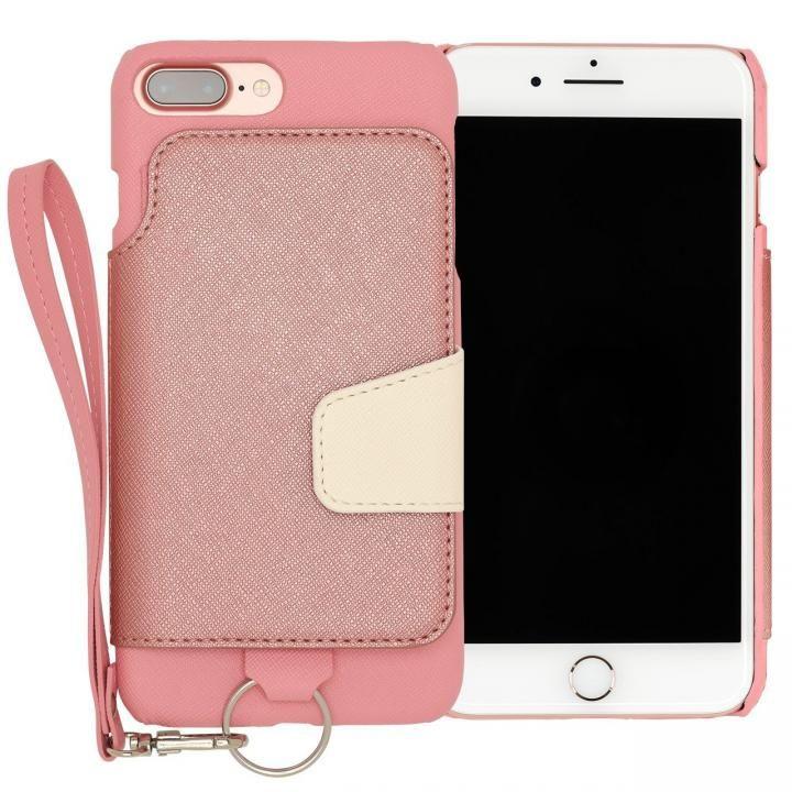 RAKUNI PUレザー ブックタイプケース with ストラップ ピンク iPhone 7 Plus