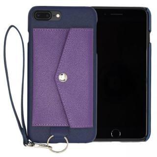 RAKUNI PUレザー ポケットタイプケース with ストラップ ブルー iPhone 7 Plus