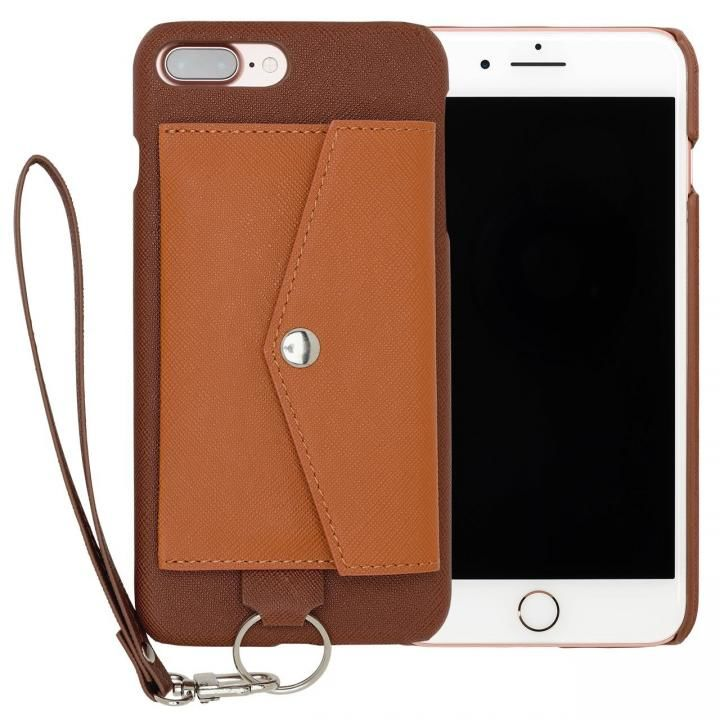 RAKUNI PUレザー ポケットタイプケース with ストラップ ブラウン iPhone 7 Plus