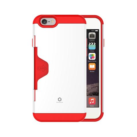 Golf Fit カード収納機能付きケース ホワイト-レッド iPhone 6
