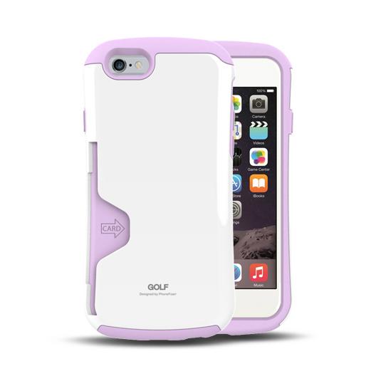 Golf Original カード収納機能付きケース ホワイト-パープル iPhone 6