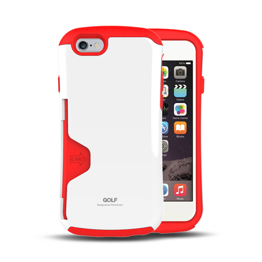 【iPhone6ケース】Golf Original カード収納機能付きケース ホワイト-レッド iPhone 6_0