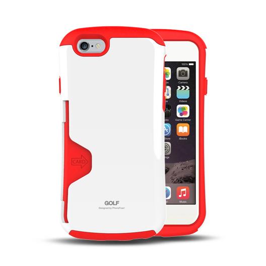 iPhone6 ケース Golf Original カード収納機能付きケース ホワイト-レッド iPhone 6_0
