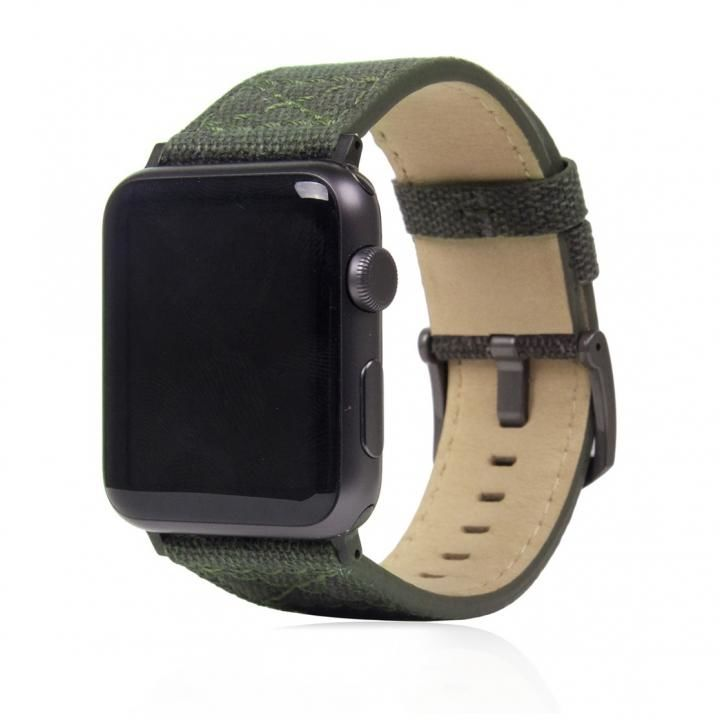 SLG Design Apple Watch バンド 42mm/44mm用 ワックスキャンバス カーキ_0