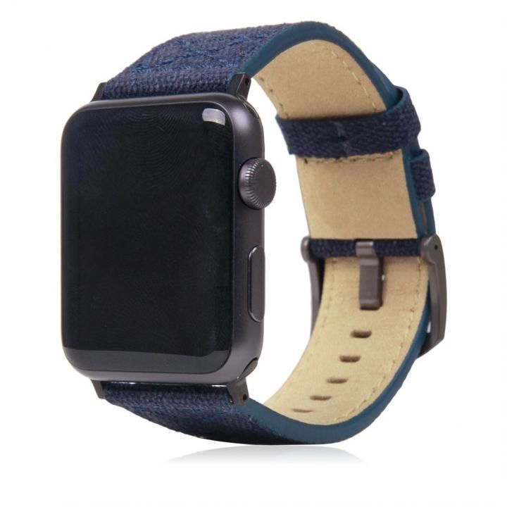 SLG Design Apple Watch バンド 42mm/44mm用 ワックスキャンバス ネイビー_0
