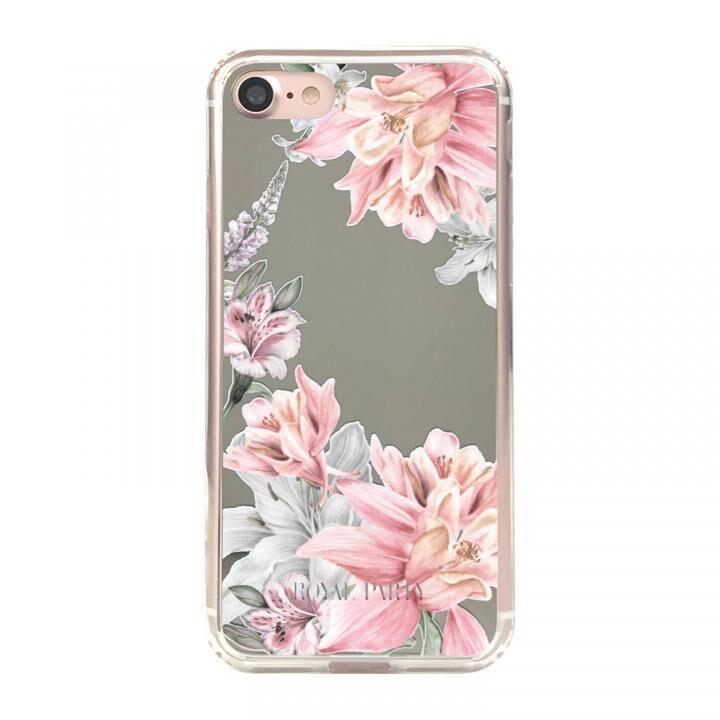 iPhone8/7/6s/6 ケース ROYALPARTY ミラー背面ケース フラワー/SILVER iPhone SE 第2世代/8/7/6s/6_0