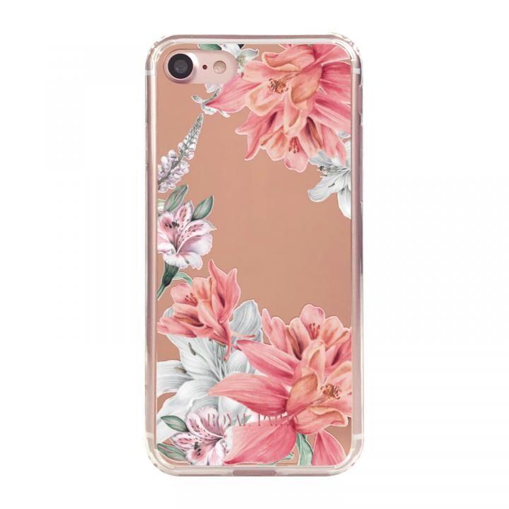 iPhone8/7/6s/6 ケース ROYALPARTY ミラー背面ケース フラワー/ROSE GOLD iPhone SE 第2世代/8/7/6s/6_0