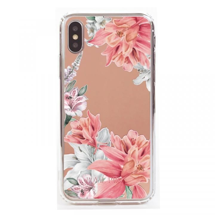 iPhone XS/X ケース ROYALPARTY ミラー背面ケース フラワー/ROSE GOLD iPhone XS/X_0