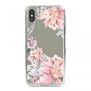 iPhone XS/X ケース ROYALPARTY ミラー背面ケース フラワー/SILVER iPhone XS/X