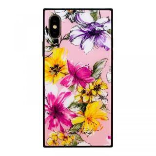 iPhone XS/X ケース ROYALPARTY 背面ガラス アーバンフラワー アーバンフラワー/PINK iPhone XS/X【4月上旬】