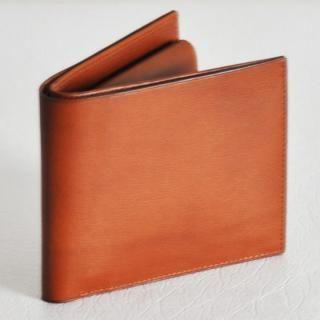 カーフレザー 二つ折り財布 ライトブラウン