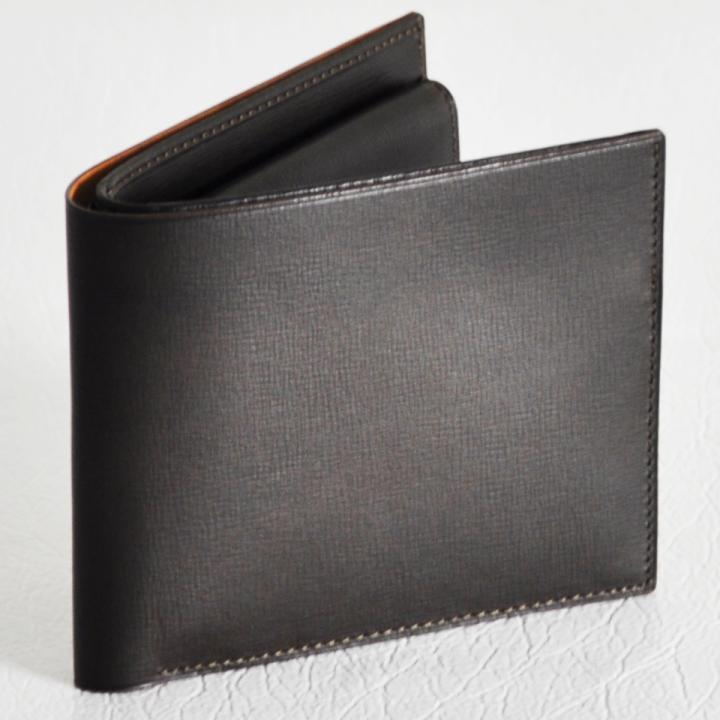 カーフレザー 二つ折り財布 チョコ_0