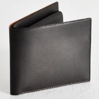 カーフレザー 二つ折り財布 チョコ