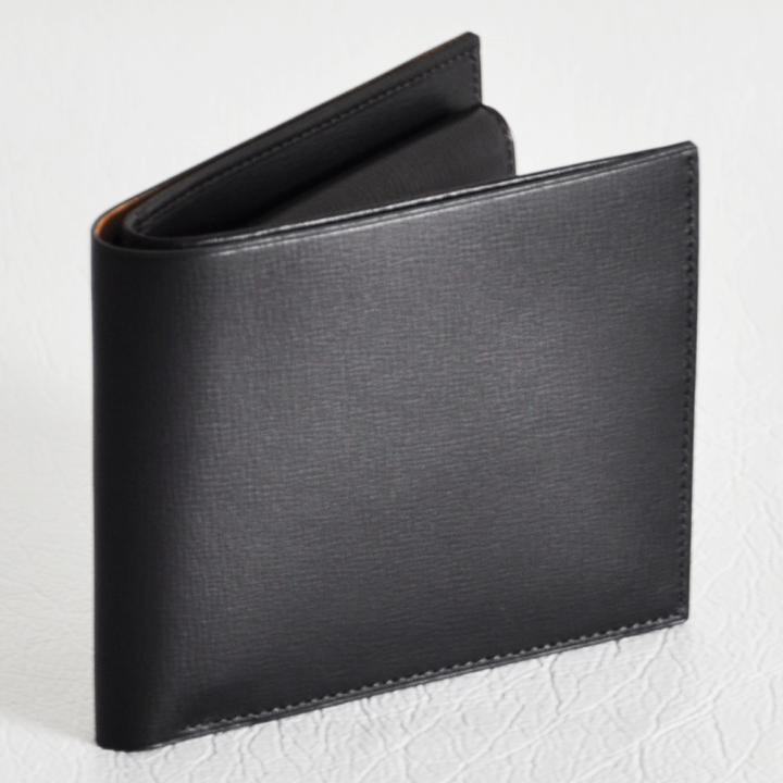 カーフレザー 二つ折り財布 ブラック
