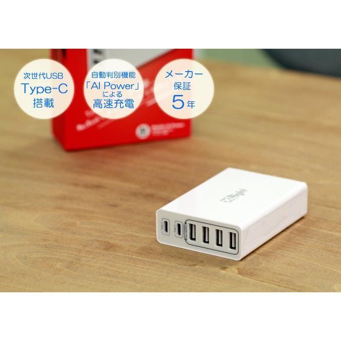 XLight M6 USB-TypeC + USB-A 計6ポートAC-USB充電器 ホワイト