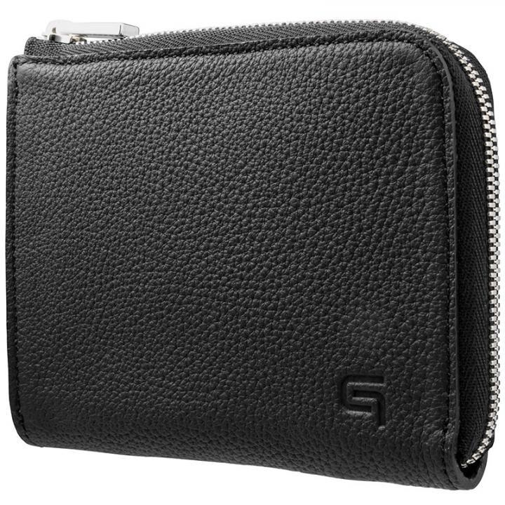 GRAMAS German Shrunken-calf L Shaped Zipper mini Wallet ブラック_0