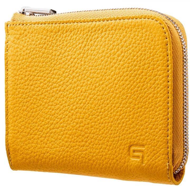 GRAMAS German Shrunken-calf L Shaped Zipper mini Wallet イエロー_0