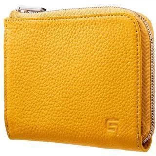 GRAMAS German Shrunken-calf L Shaped Zipper mini Wallet イエロー