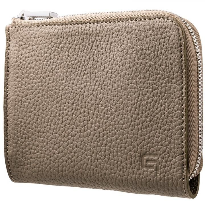 GRAMAS German Shrunken-calf L Shaped Zipper mini Wallet トープ_0
