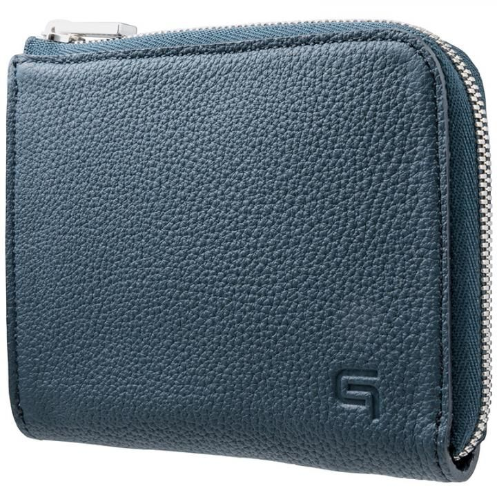 GRAMAS German Shrunken-calf L Shaped Zipper mini Wallet ネイビー_0