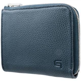 GRAMAS German Shrunken-calf L Shaped Zipper mini Wallet ネイビー