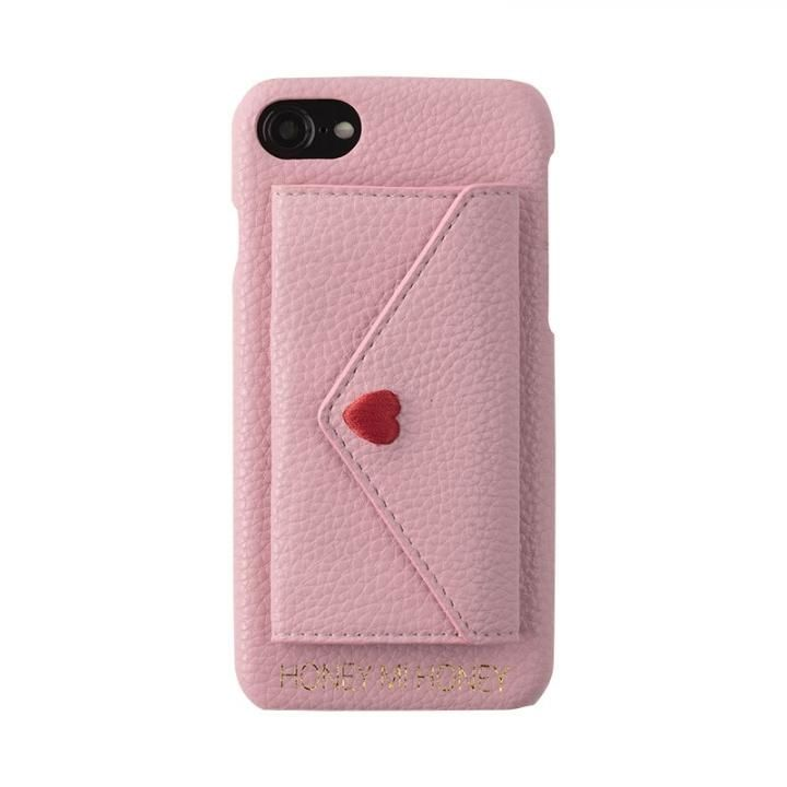 iPhone8/7/6s/6 ケース HONEY MI HONEY LETTER IPHONECASE ポケット付背面ケース ピンク iPhone 8/7/6s/6_0