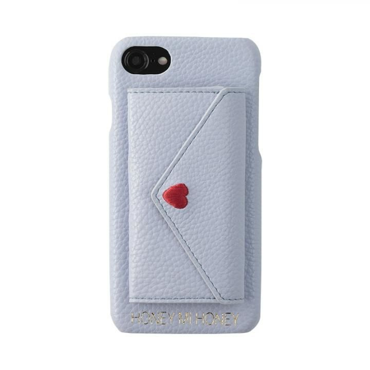 iPhone8/7/6s/6 ケース HONEY MI HONEY LETTER IPHONECASE ポケット付背面ケース ブルー iPhone 8/7/6s/6_0