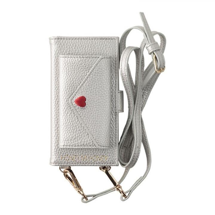 iPhone8/7/6s/6 ケース HONEY MI HONEY LETTER BOOK ポケット付手帳型ケース シルバー iPhone 8/7/6s/6_0