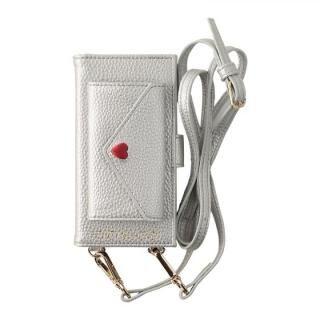 iPhone8/7/6s/6 ケース HONEY MI HONEY LETTER BOOK ポケット付手帳型ケース シルバー iPhone 8/7/6s/6