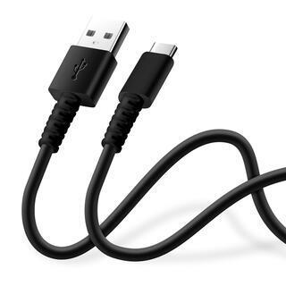充電/通信 やわらかケーブル USB-A to USB-C 0.5m ブラック