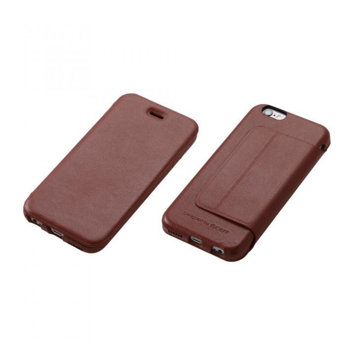 iPhone6s/6 ケース Deff 牛革手帳型ケース ブラウン iPhone 6s/6_0