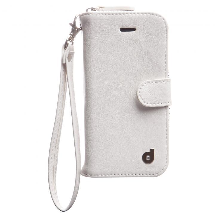 お財布付き手帳型ケース Zipper ホワイト iPhone SE/5s/5ケース