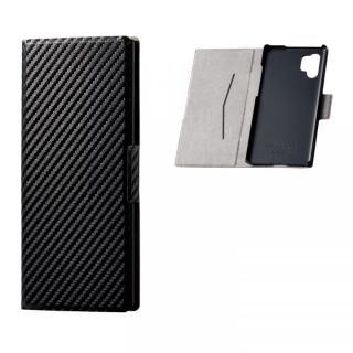 Galaxy Note10+ ソフトレザーケース 薄型 磁石付 カーボン調(ブラック)