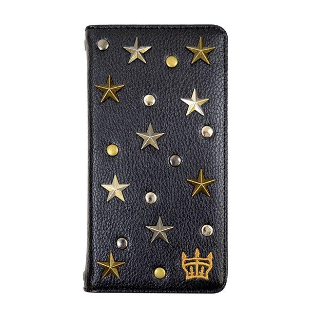 【iPhone8/7/6s/6ケース】RODEOCROWNS スタースタッズ 手帳型ケース ブラック iPhone 8/7/6s/6_0