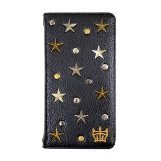 【iPhone8/7/6s/6ケース】RODEOCROWNS スタースタッズ 手帳型ケース ブラック iPhone 8/7/6s/6