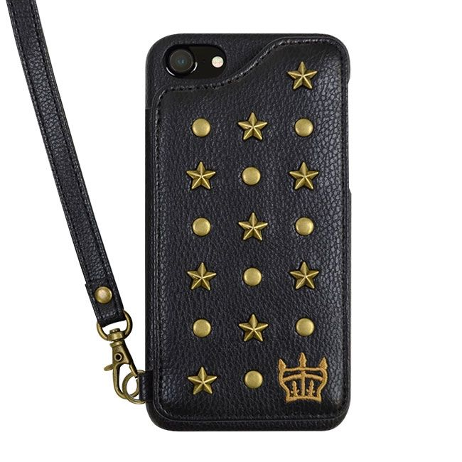 【iPhone8/7/6s/6ケース】RODEO CROWNS スタースタッズ 背面ケース ブラック iPhone 8/7/6s/6_0