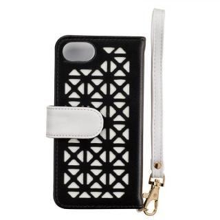 【iPhone8/7/6s/6ケース】Girlsi ダイアリー パンチング ブラック×ホワイト iPhone 8/7/6s/6_2