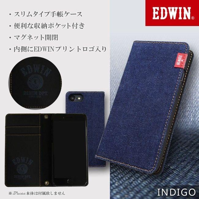 iPhone8/7/6s/6 ケース EDWIN/エドウィン 「タグデニム」 手帳型ケース インディゴ iPhone SE 第2世代/8/7/6s/6_0