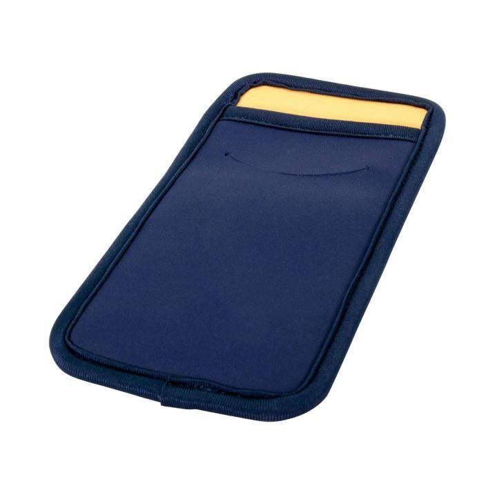 カードポケット付き 傷を防止する スマートフォンマルチスリーブケース ネイビー_0
