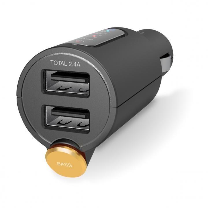 FMトランスミッター/Bluetooth/USB2ポート付/2.4A/おまかせ充電/重低音モード付/4チャンネル/ブラック【2月下旬】_0