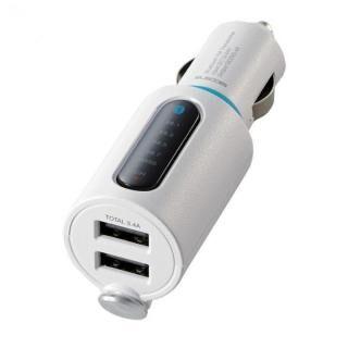 FMトランスミッター/Bluetooth/USB2ポート付/3.4A/おまかせ充電/重低音モード付/4チャンネル/ホワイト