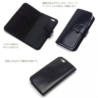 【iPhone6ケース】最高級革 コードバン 手帳型ケース ブラック iPhone 6_1