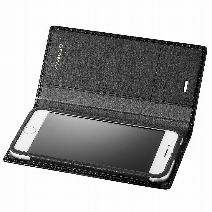 iPhone6s/6 ケース GRAMAS クロコダイル型押しフルレザー手帳型ケース ブラック iPhone 6s/6_0