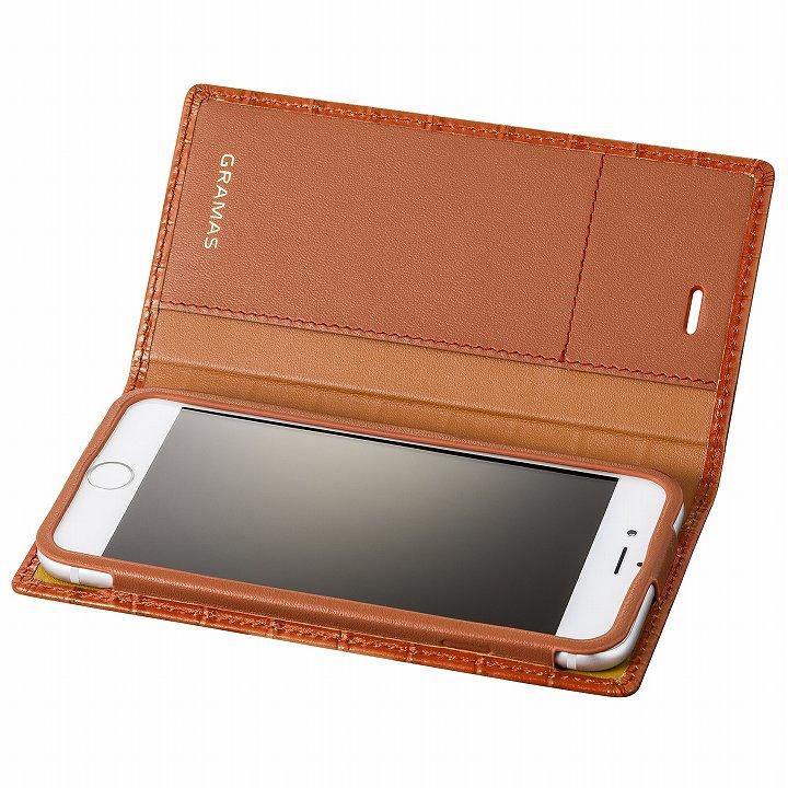 iPhone6s/6 ケース GRAMAS クロコダイル型押しフルレザー手帳型ケース タン iPhone 6s/6_0