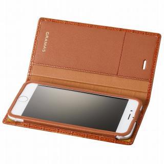 GRAMAS クロコダイル型押しフルレザー手帳型ケース タン iPhone 6s/6
