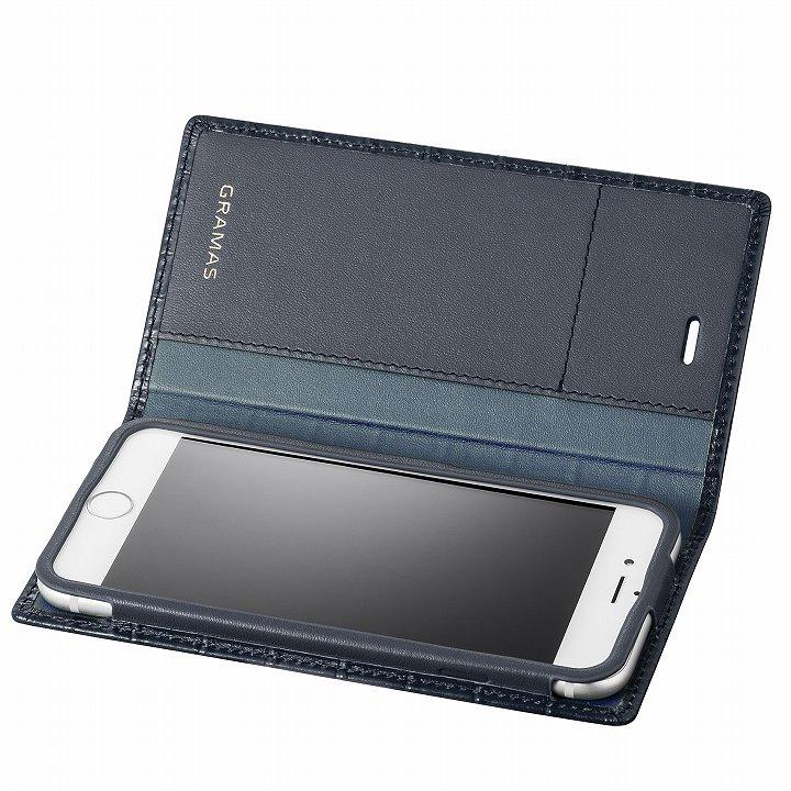 iPhone6s/6 ケース GRAMAS クロコダイル型押しフルレザー手帳型ケース ネイビー iPhone 6s/6_0